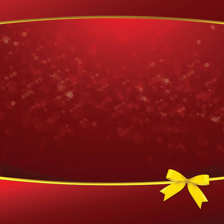 Red bokeh and golden ribbon  background