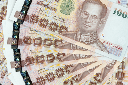 1000 thai bahte banknote stack photo
