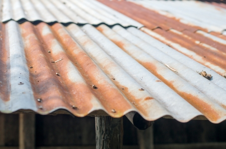 hangar: Rusty zinc roof , old roof Stock Photo