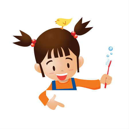 brush the teeth cartoon pointer Vector
