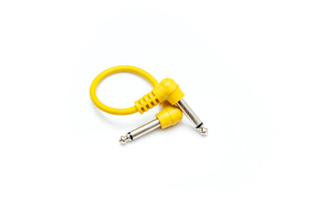 isolated yellow mono audio cable