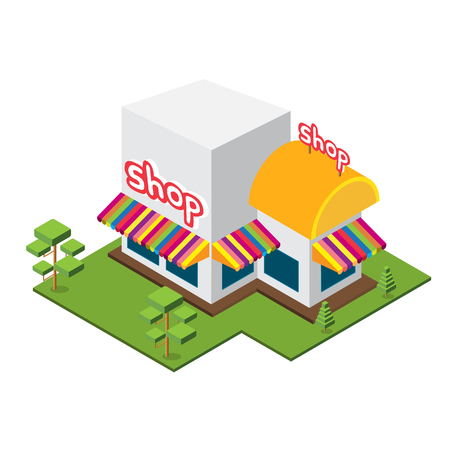Isometric Big Shop, Isolated shop Vector