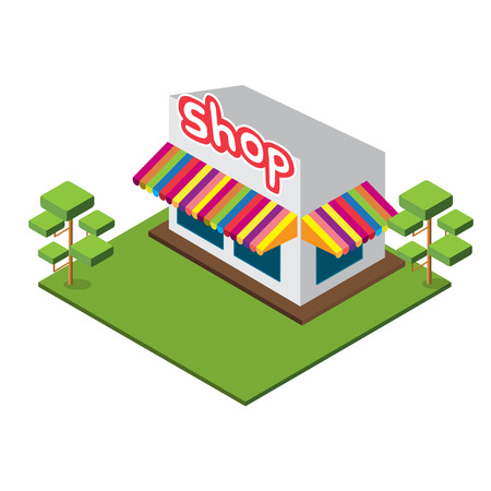 Isometric Medium Shop, Isolated shop Vector