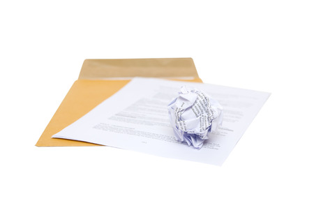 Isolated Crumpled paper on envelope photo