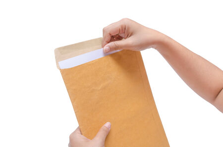 ISolated Hands are holding the envelope photo