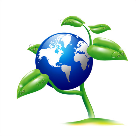 Vector EPS 10 Isolated Earth and small plant Vector