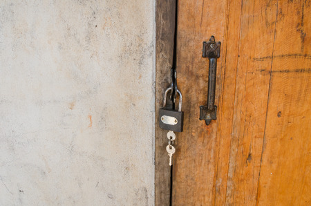 Lock and key, home door photo