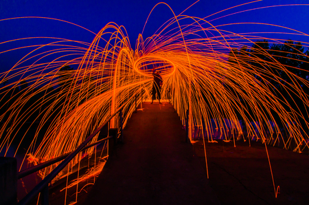 Steel Wool burnning fire effect Stock Photo - 25741793