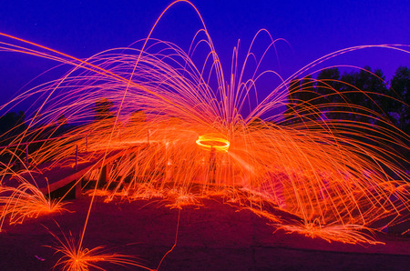 Steel Wool burnning fire effect photo