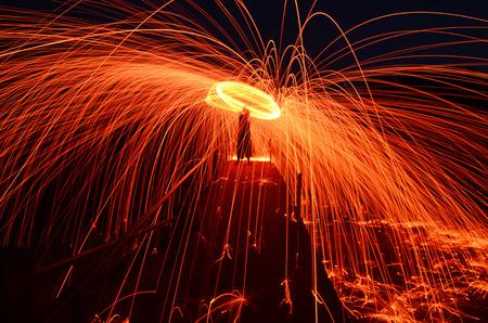 Steel Wool burnning fire effect Stock Photo - 25741844