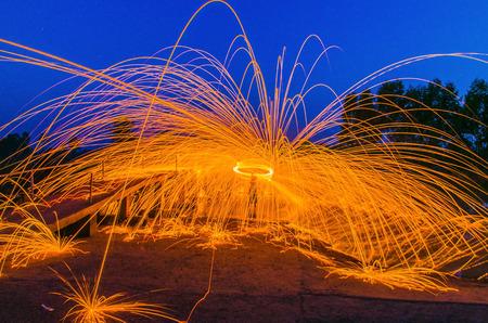 Steel Wool burnning fire effect Stock Photo - 25741897
