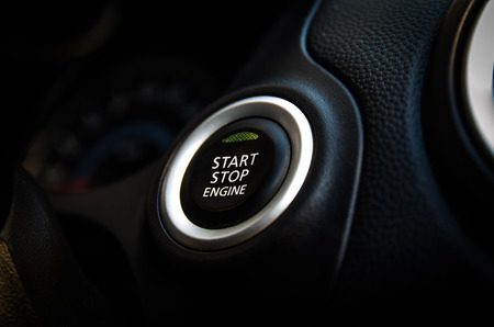 Engines Start stop button, car start Stock Photo