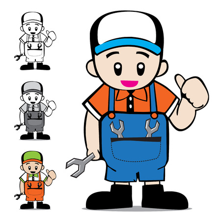 tradesperson: Mechanic Vector Cartoon Illustration