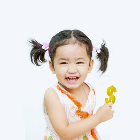 Happy  asian girls with dollar in hand on the white  Stock Photo