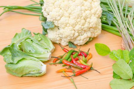 fresh vegetable on wood table photo