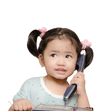 Isolated Baby girl talking phone, communication