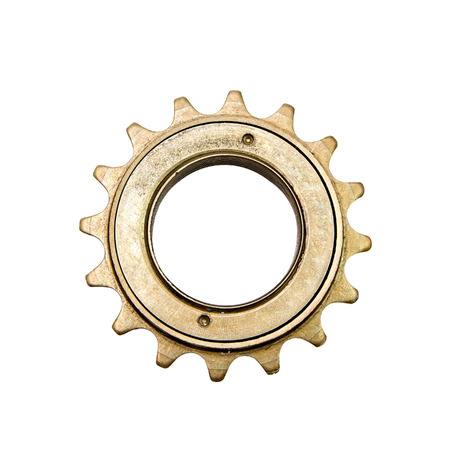 real steel gears isolated over white background photo