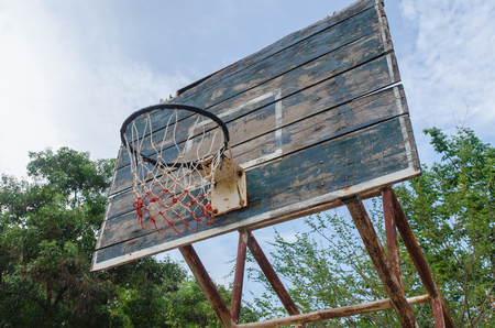 Old Basketball hoop on a blue sky  Stock Photo