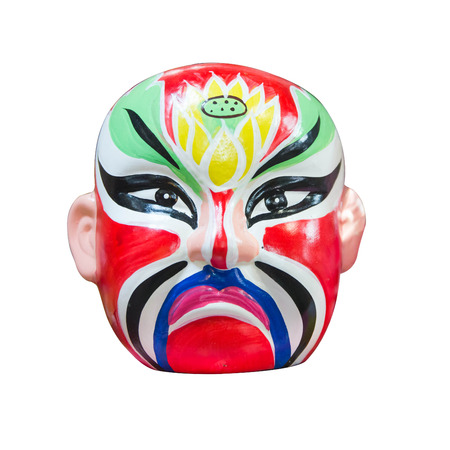 noh: Japan style mask on isolated white background Stock Photo