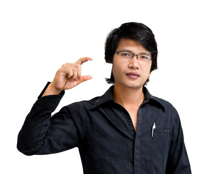 namecard: Asian business man showing namecard on white background