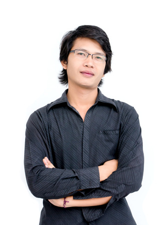 Asian Man Cross Ones Arm on white background
