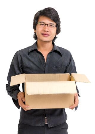Asian man holding a box on white backgound photo