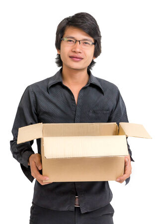 Asian man holding a box on white backgound