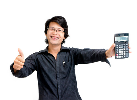 Smile asian business man showing calculator photo