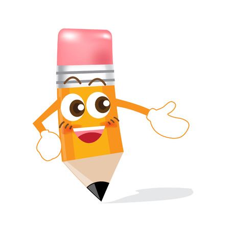 Pencil cartoon showing something on white background Vector