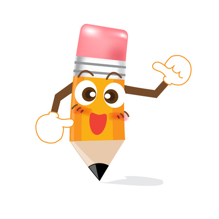 Pencil Cartoon showing thump up on white background Vector