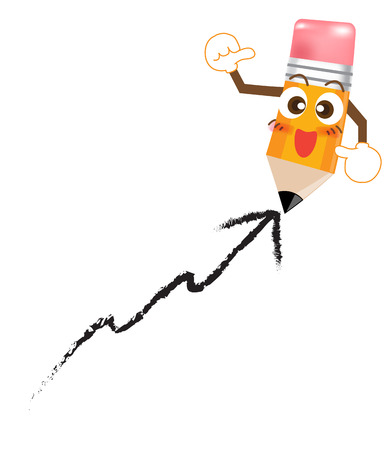 Pencil Cartoon showing thump up on white background Illustration