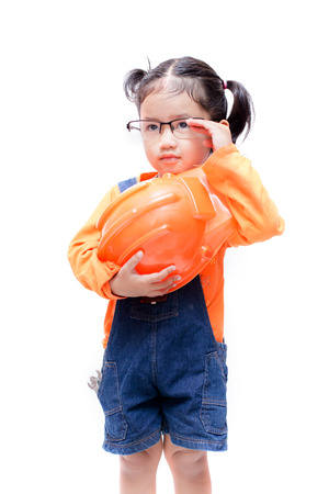 glases: Asian Engineer baby girl take the glasses on white background