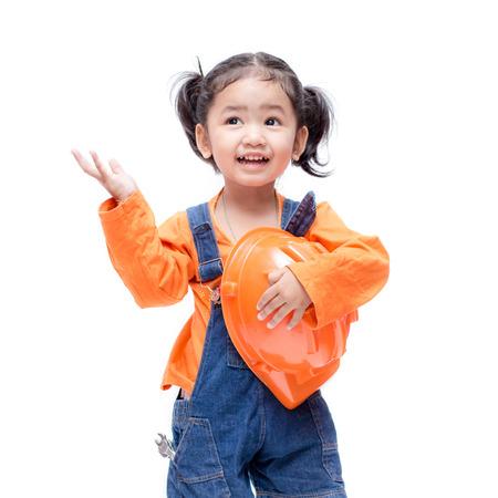 Lach Aziatische Ingenieur babymeisje op witte achtergrond