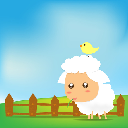 Cute Sheep on green field Illustration