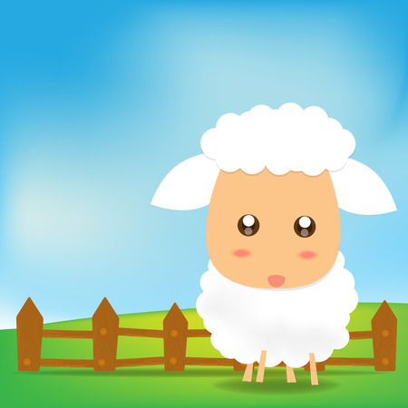 Cute Sheep on green field Vector