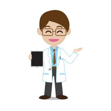 doctor tablet: Smile doctor showing tablet Illustration