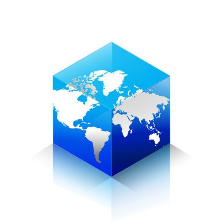 Isometrische Bubic wereld en kaart oppervlak