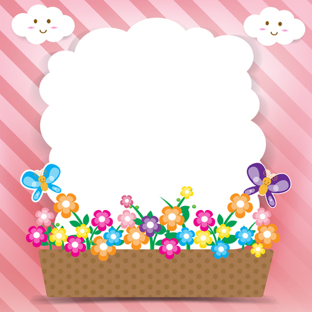 Smile cloud and butterfly on sky background Vector