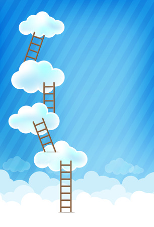 stairway to heaven: Cloud and blue sky with stairway vector background