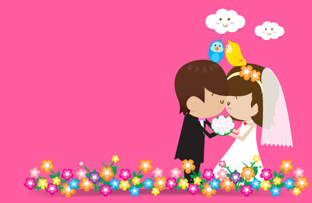 Bride and Groom Vector cartoon Vector