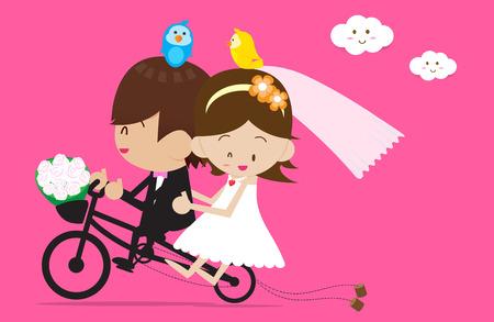 Bride and Groom Vector cartoon Vector