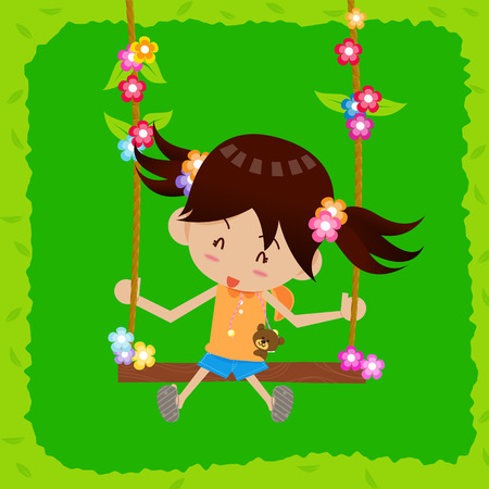 mixed race children: Little girl playing swings with happiness