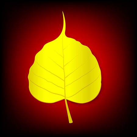 Golden boh leaf on dark red backgroud Illustration