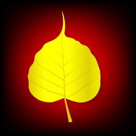 Golden boh leaf on dark red backgroud Vectores