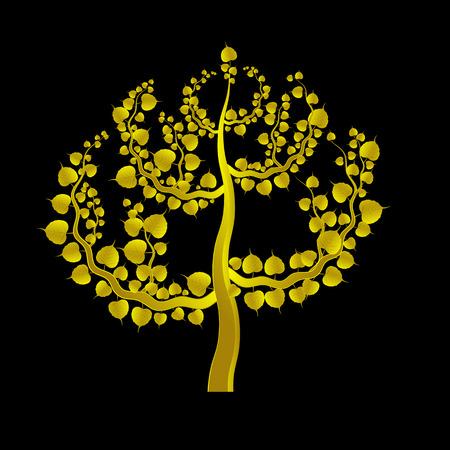 feuille de vigne: Des feuilles d'or sur un arrière-plan boh rouge foncé
