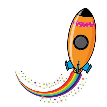 Rocket Icon with star and rain bow trail Vector