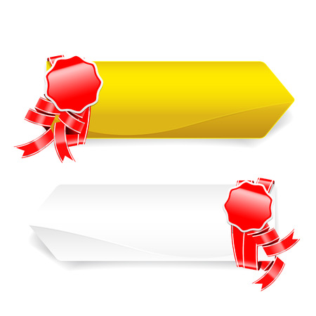 Red ribbon and blank banner Vector