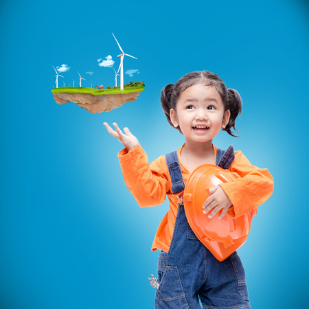 Smile Asian Engineer baby girl  with small floating island photo