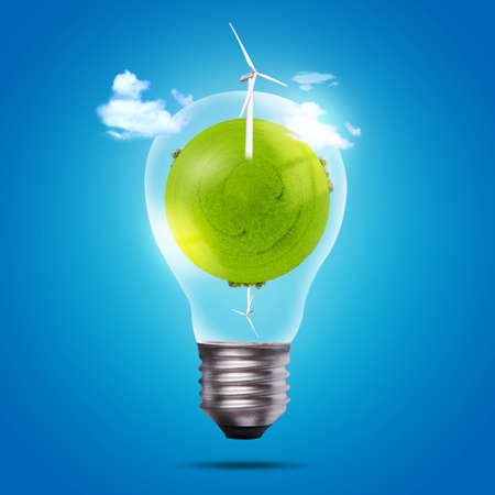electro world: Eco bulb of windmill and green globe Stock Photo