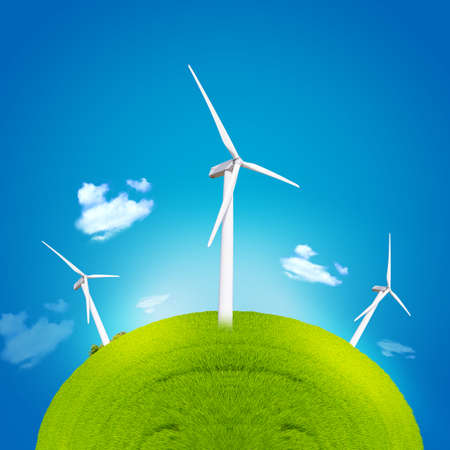 electro world: windmill and green globe background